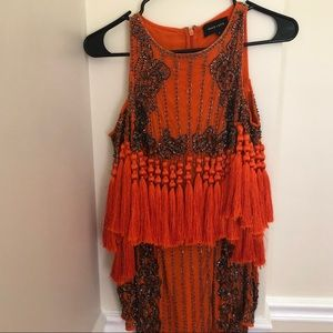 Missguided Orange tassel dress